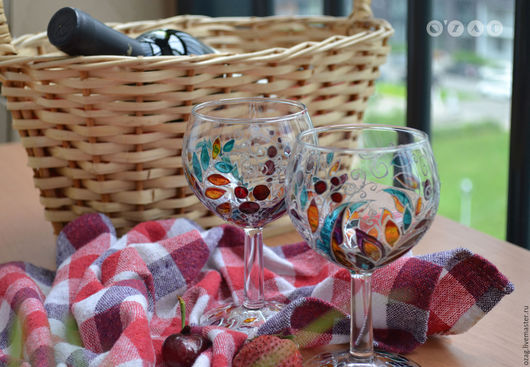 Бокалы, стаканы ручной работы. Ярмарка Мастеров - ручная работа. Купить Комплект винных бокалов. Handmade. Бордовый, Бокалы
