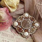 """Украшения handmade. Livemaster - original item """"Latte"""" - brooch with pearls and jasper. Handmade."""