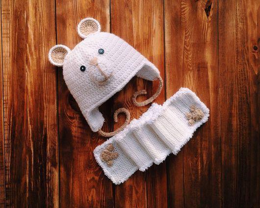 """Шапки ручной работы. Ярмарка Мастеров - ручная работа. Купить Вязаные шапка и шарф """"Мишка"""". Handmade. Шапка мишка"""