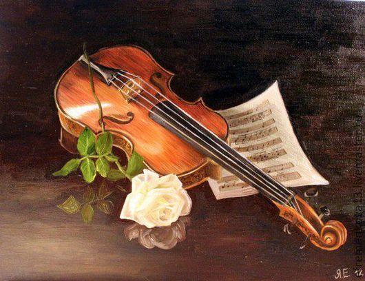 Натюрморт ручной работы. Ярмарка Мастеров - ручная работа. Купить Картина Скрипка. Handmade. Коричневый, музыкальные инструменты