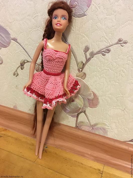 """Одежда для кукол ручной работы. Ярмарка Мастеров - ручная работа. Купить Платье для кукол Барби """"Кокетка"""". Handmade. Бледно-розовый"""