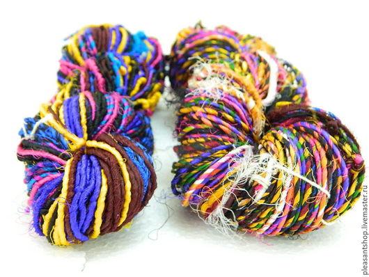 Вязание ручной работы. Ярмарка Мастеров - ручная работа. Купить Пряжа Шелк-Сари 10. Handmade. Разноцветный, шелк для вязания