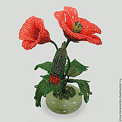 Цветы и флористика handmade. Livemaster - original item Poppies bead in a vase of onyx. Handmade.