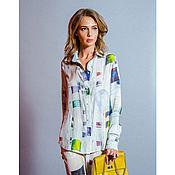 Шелковая блузка с принтом «березы»