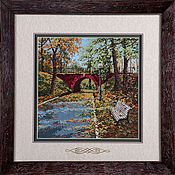 Картины и панно handmade. Livemaster - original item Cross stitch A Bridge for Lovers. Handmade.