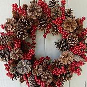 """Подарки к праздникам ручной работы. Ярмарка Мастеров - ручная работа Новогодний веночек """"Шишкин лес"""". Handmade."""