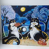 Картины и панно ручной работы. Ярмарка Мастеров - ручная работа 13. Картина маслом Дуэт при луне. Handmade.