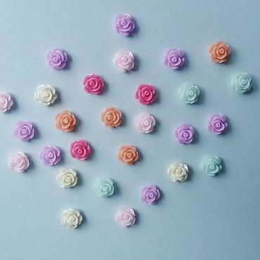 Материалы для творчества ручной работы. Ярмарка Мастеров - ручная работа Декор: Розочка пластиковая цветная 7 мм. Handmade.