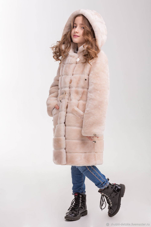 Одежда для девочек, ручной работы. Ярмарка Мастеров - ручная работа. Купить Светлая мутоновая шуба для девочки в поперечную полоску. Handmade.