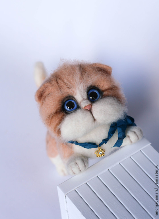The ginger cat toy from wool, Felted Toy, Moscow,  Фото №1