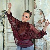 Одежда ручной работы. Ярмарка Мастеров - ручная работа Блуза, натуральный шелк, эксклюзив Фиолетовый закат. Handmade.