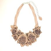 Украшения handmade. Livemaster - original item Necklace genuine leather color dusty rose rose Dance Powder. Handmade.
