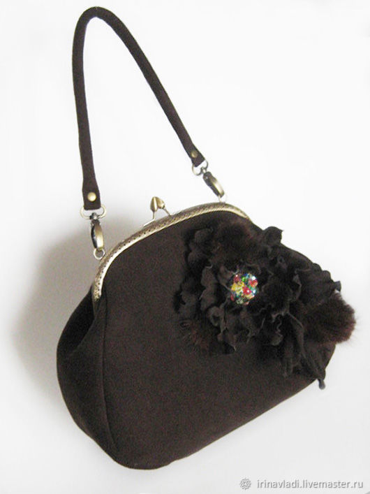 Bag with clasp women's brown genuine suede with a flower, Clasp Bag, Rostov-on-Don,  Фото №1