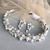 Свадебный салон handmade. Livemaster - original item Wedding tiara and earrings. set of jewelry