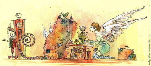 """Символизм ручной работы. Ярмарка Мастеров - ручная работа. Купить """"Утренний чай субботним утром"""". Handmade. Открытка, акварельная картина"""