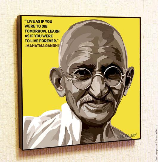 Дизайн интерьеров ручной работы. Ярмарка Мастеров - ручная работа. Купить Картина Махатма Ганди в стиле Поп Арт. Handmade.