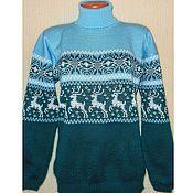 Одежда ручной работы. Ярмарка Мастеров - ручная работа Вязаный свитер с норвежским орнаментом Изумруд. Handmade.