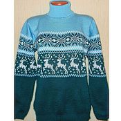 Одежда handmade. Livemaster - original item Sweater with reindeer and Norwegian ornament knitted Emerald. Handmade.