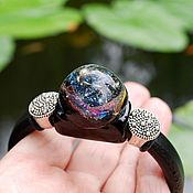 Cord bracelet handmade. Livemaster - original item Bracelet space galaxy style regalis on a leather cord. Handmade.