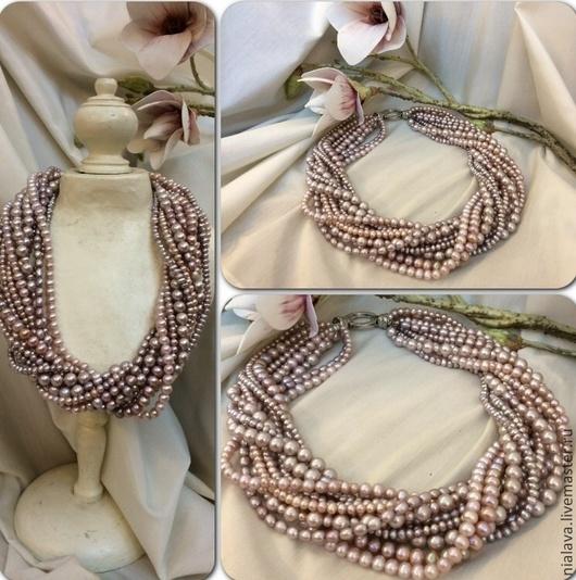 Роскошное украшение из натурального розового цвета колье ожерелье бусы купить фото дизайнера Светланы Молодых