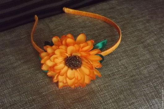 Диадемы, обручи ручной работы. Ярмарка Мастеров - ручная работа. Купить Ободок для волос  с цветком. Handmade. Оранжевый, ободок