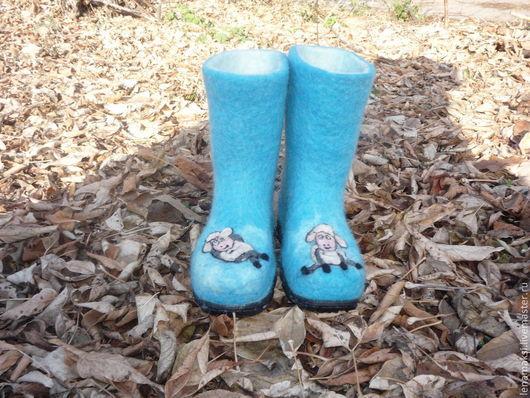 """Обувь ручной работы. Ярмарка Мастеров - ручная работа. Купить Валенки детские """"Овечки в бирюзе"""". Handmade. Валенки для улицы"""