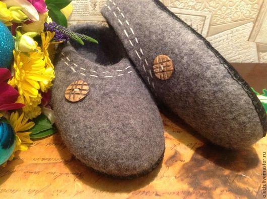 Обувь ручной работы. Ярмарка Мастеров - ручная работа. Купить Валяные тапочки Брутальчики. Handmade. Серый, тапки мужские