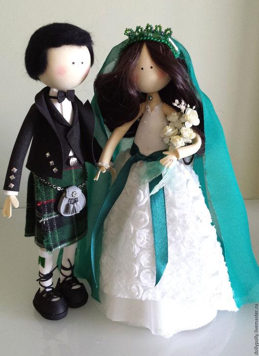 Коллекционные куклы ручной работы. Ярмарка Мастеров - ручная работа. Купить Свадьба в Шотландии. Handmade. Тёмно-зелёный, килт, фоамиран