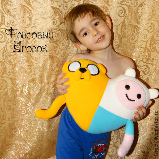 Текстиль, ковры ручной работы. Ярмарка Мастеров - ручная работа. Купить Adventure Time подушка Финн и Джейк. Handmade. Разноцветный