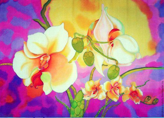 Картина батик `Белые орхидеи` Сорокина Наталья Для Вас с любовью !!!