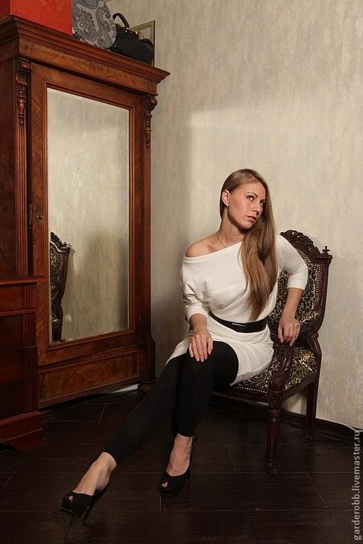 Платья ручной работы. Ярмарка Мастеров - ручная работа. Купить Шерстяное платье-пуловер с рукавом 3/4. Handmade. Белый