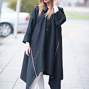 Одежда handmade. Livemaster - original item Cashmere coat, Long, asymmetrical coat, Black coat. Handmade.