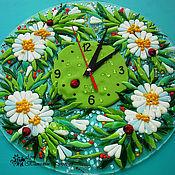 Для дома и интерьера ручной работы. Ярмарка Мастеров - ручная работа часы ПОСЛЕ ДОЖДЯ, фьюзинг. Handmade.