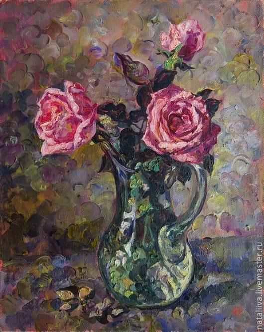 Картины цветов ручной работы. Ярмарка Мастеров - ручная работа. Купить Розы. Handmade. Розовый, картина с цветами, картина в подарок