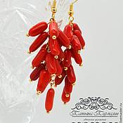 Украшения ручной работы. Ярмарка Мастеров - ручная работа Обалденные красные крупные серьги грозди из натурального коралла. Handmade.
