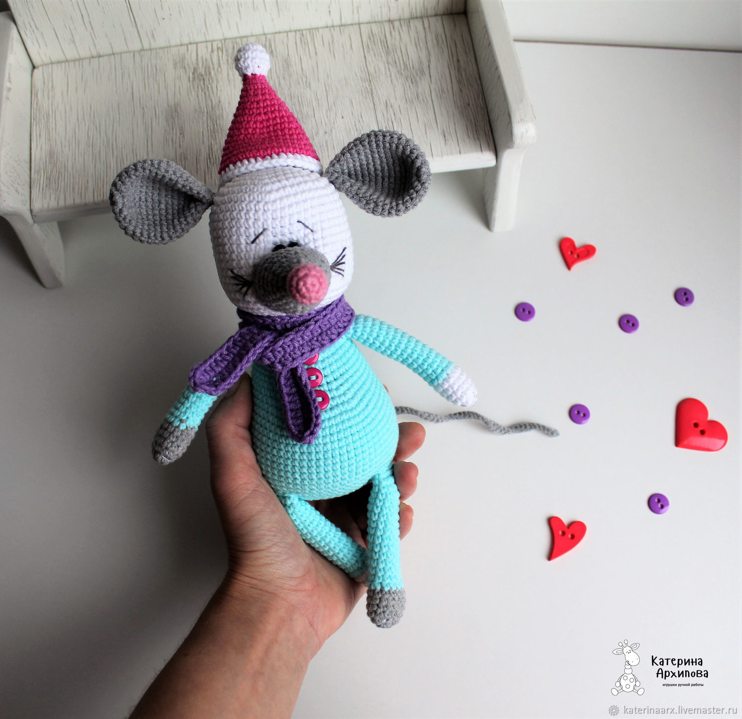 Mouse knitted, Stuffed Toys, Kirovsk,  Фото №1