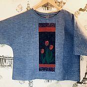Одежда ручной работы. Ярмарка Мастеров - ручная работа Блузка с тюльпанами «вечерние сумерки». Handmade.