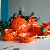 Посуда handmade. Livemaster - original item Tangerine tea set. ceramic handmade. Handmade.
