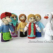 Куклы и игрушки ручной работы. Ярмарка Мастеров - ручная работа Гуси-Лебеди. Пальчиковый театр. Handmade.