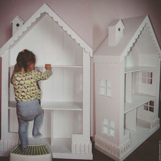 Кукольный дом ручной работы. Ярмарка Мастеров - ручная работа. Купить Кукольный домик стеллаж. Handmade. Белый, стеллаж