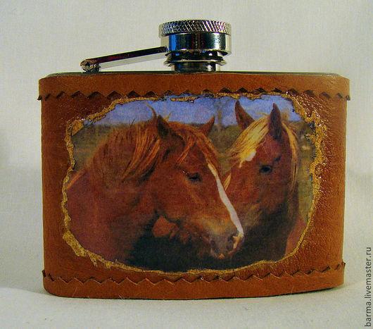 """Подарки для мужчин, ручной работы. Ярмарка Мастеров - ручная работа. Купить Фляга """"Лошадки"""". Handmade. Фляга, фляжка из кожи"""