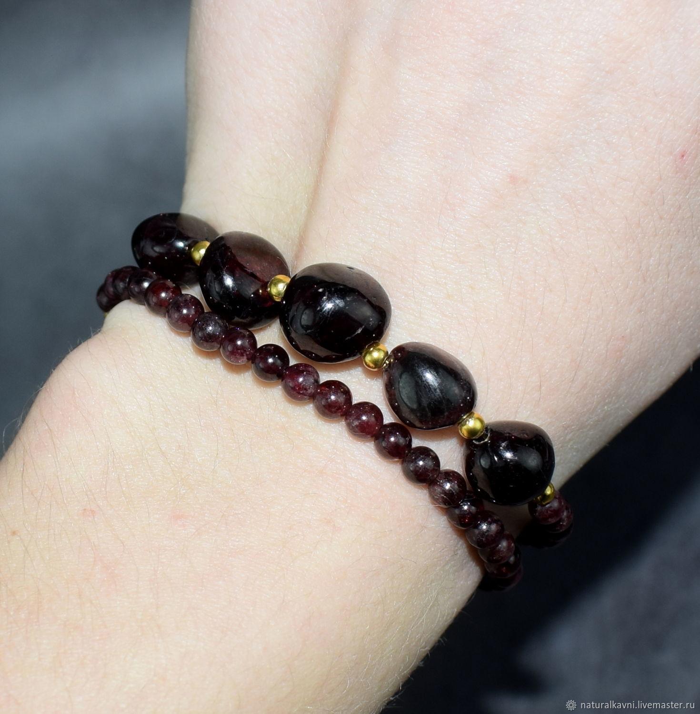 Two-row bracelet natural garnet stone, Bead bracelet, Moscow,  Фото №1