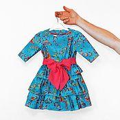 Работы для детей, handmade. Livemaster - original item Turquoise elegant dress for a girl made of American cotton with a bow. Handmade.
