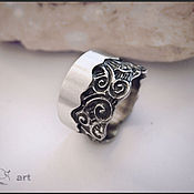 Украшения handmade. Livemaster - original item silver ring with swirls. Handmade.