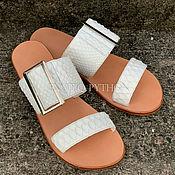 Обувь ручной работы handmade. Livemaster - original item Python skin flip flops. Handmade.