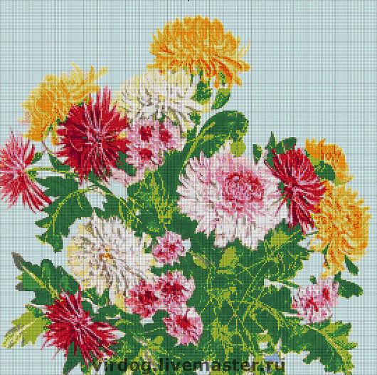 """Вышивка ручной работы. Ярмарка Мастеров - ручная работа. Купить Схема для ЧАСТИЧНОЙ вышивки """"Хризантемы"""". Handmade. Токарева, цветы"""