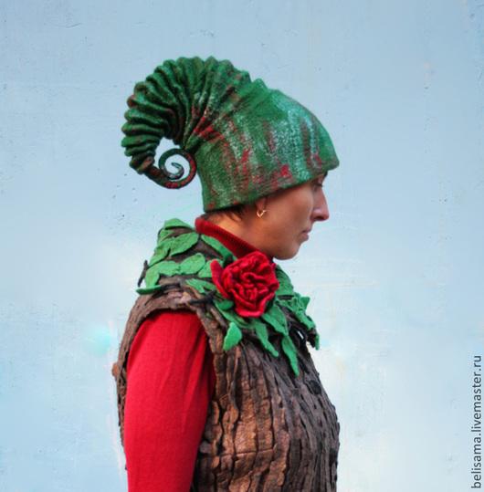 """Шапки ручной работы. Ярмарка Мастеров - ручная работа. Купить Шапочка """"Лесной эльф"""". Handmade. Зеленый, зеленая шапка, вискоза"""