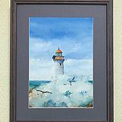 Картины и панно ручной работы. Ярмарка Мастеров - ручная работа Морской стиль Маяк в раме акварель. Handmade.