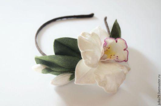 Диадемы, обручи ручной работы. Ярмарка Мастеров - ручная работа. Купить Ободок орхидея 2. Handmade. Белый, обруч с цветами