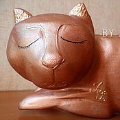 """Для дома и интерьера ручной работы. Ярмарка Мастеров - ручная работа Статуэтка """"Медная кошка"""" резьба. Handmade."""